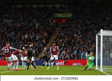 Orjan Nyland of Aston Villa saves a headed effort from John Stones of Manchester City - Aston Villa v Manchester City, Carabao Cup Final, Wembley Stadium, London, UK - 1st March 2020