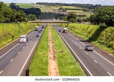 Orlandia, Sao Paulo, Brazil, February 20, 2013. Movement of the Anhanguera Highway, SP-330, in the city of Orlandia