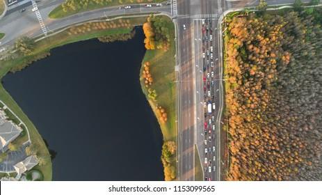 Orlando Crossing Street Aerial View