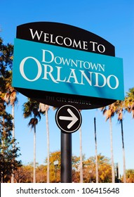 Orlando downtown welcome sign with tropical scene