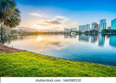 Orlando in early morning. Located in Lake Eola Park, Orlando, Florida, USA.