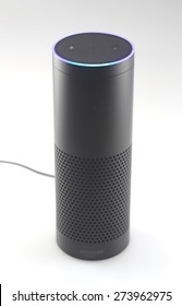 ORLANDO, FL - April 30, 2015:   Amazon Echo, the voice recognition streaming device from Amazon, announced last year is currently shipping.