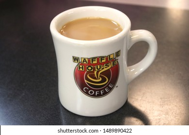 Orlando FL, August 12, 2019:  Waffle House an American restaurant chain with 2,100 locations in 25 states in the United States. Most of the locations are in the South. Waffle House Coffee featured.
