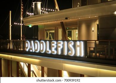 Orlando, FL - August 16, 2017: Paddlefish Restaurant in Disney Springs.