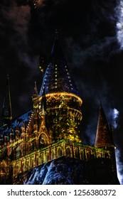 Orlando, Fl/ Dec 12, 2018: Universal studios harry potter land Hogwarts hogsmede Christmas lights and fireworks