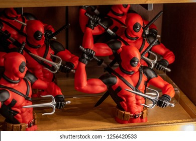 Orlando, Fl/ Dec 12, 2018: Universal Studios Deadpool Merchandise in comic book store Marvel