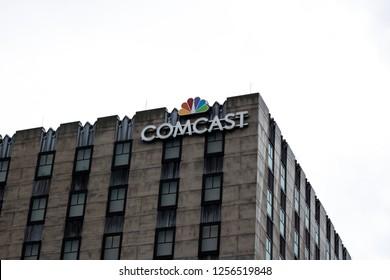 Orlando, Fl/ Dec 12, 2018: Comcast building in universal studios