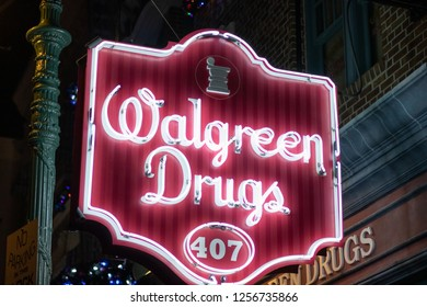 Orlando, Fl/ Dec 12, 2018: Walgreen Drugs red neon sign