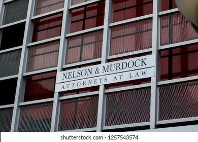 Orlando, Fl/ Dec 12, 2018: Nelson and Murdock Attorneys at law universal studios daredevil