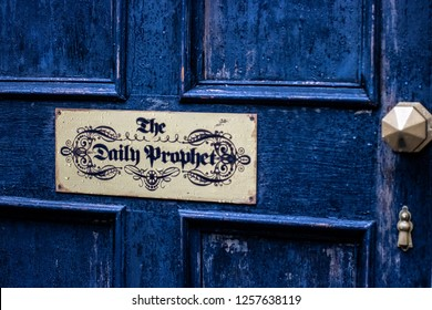 orlando, Fl/ Dec 13, 2018: Universal studios blue door the daily prophet news paper askaban harry potter in diagon ally