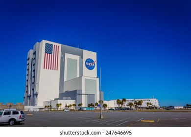 ORLANDO, FL - DEC 14, 2014: NASA Vehicle Assembly Building, Orlando, Florida on a sunny day. This building is used to assemble large American manned rockets and will be used to launch upcoming Space Launch System