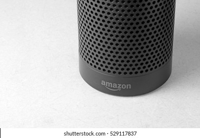 ORLANDO, FL - December 4, 2016:   Amazon Echo, the voice recognition streaming device from Amazon.  Currently available in two colors, black and white for a list price of $179.99.
