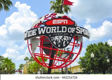 ORLANDO, FL - ESPN World Wide of Sports entrance sign.Located in Orlando Florida.