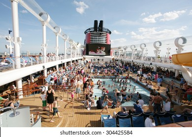 "ORLANDO, FL- FEB 3:  Great party on the departure of the new Disney Cruise Line named ""Dream"".  The ship features the first water coaster at sea, on Port Canaveral, Orlando, FL on feb 3, 2013."