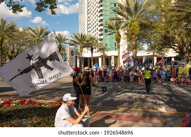 Orlando, FL - February 28, 2021: Supporters of ex-president Trump gather outside the CPAC at the Hyatt Regency hotel.