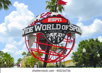 ORLANDO, FL - June 1 2016:ESPN World Wide of Sports entrance sign.Located in Orlando Florida on June 1 2016.