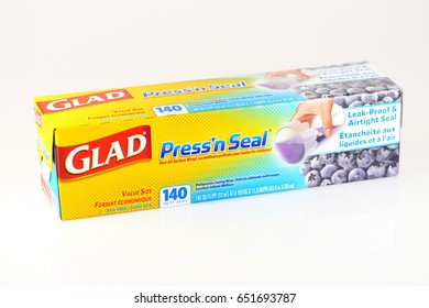 ORLANDO, FL - June 1, 2017:  Glad's Press 'n Seal plastic wrap uses Griptex technology to adhere to almost any surface to keep food fresh.