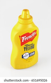 ORLANDO, FL - June 1, 2017: French's Classic Yellow mustard is made from all natural ingredients with no artificial colors, flavors or preservatives.