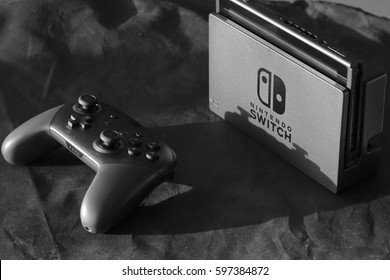 ORLANDO, FL - March 10, 2017: Nintendo Switch, the video game console for home or portable gaming.