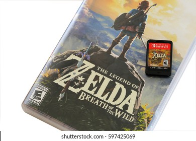 ORLANDO, FL - March 10, 2017: The Legend of Zelda: Breath of the Wild is a popular and critically acclaimed Nintendo video game.  Available for Nintendo Switch and Wii U consoles.