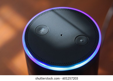 ORLANDO, FL - March 15, 2017: Amazon Echo, the popular voice recognition streaming device from Amazon.