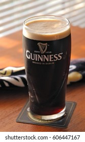ORLANDO, FL - March 22, 2017:  Guinness beer is an Irish dry stout that got its start in the brewery of Arthur Guinness at the St. James's Gate brewery in Dublin, Ireland in 1759.