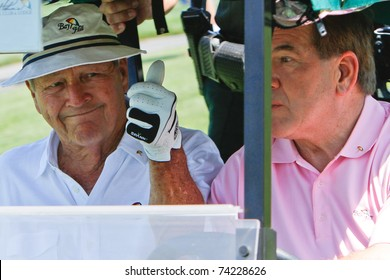 ORLANDO, FL - MARCH 23: Arnold Palmer and Tom Ridge during a practice round at the Arnold Palmer Invitational Golf Tournament on March 23, 2011 at the Bay Hill Club and Lodge in Orlando, Florida.