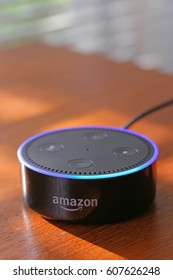 ORLANDO, FL - March 24, 2017:  Amazon has released the 2nd generation Echo Dot, a voice controlled life streaming device.  Priced at $49.99.