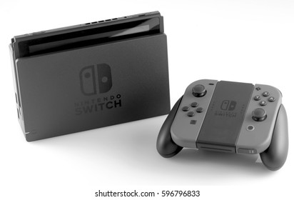 ORLANDO, FL - March 9, 2017: Nintendo Switch, the video game console for home or portable gaming.