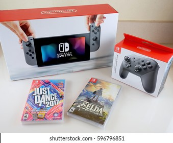 ORLANDO, FL - March 9, 2017:  Nintendo Switch a video game console that can be played both at home and away