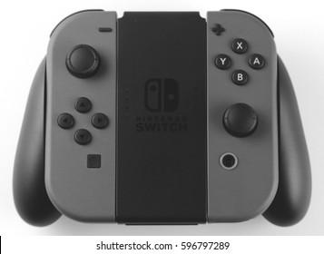 ORLANDO, FL - March 9, 2017:  Nintendo Joy-Con is a controller for the Nintendo Switch hybrid game console.