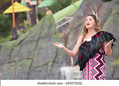 ORLANDO, FL - MAY 25, 2017: Opening ceremonies at Universal Orlando Resort's new water theme park, Volcano Bay, in Orlando Florida featuring New Zealand's Maisey Rika,