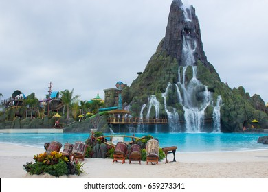 "ORLANDO, FL - MAY 25, 2017: Universal Orlando Resort's water theme park, Volcano Bay's 200-foot-tall (61 m) volcano,  ""Krakatau""."
