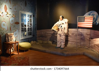 ORLANDO, FL – NOV 24: Neil Armstrong at Madame Tussauds Wax Museum in Orlando, Florida, on Nov 24, 2019.  It displays waxworks of famous and historical figures, popular film and television characters.