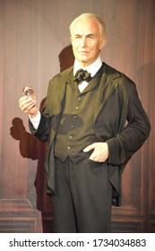 ORLANDO, FL – NOV 24: Thomas Alva Edison at Madame Tussauds Wax Museum in Orlando, Florida, on Nov 24, 2019.  It displays waxworks of historical figures, film, TV characters and sports personalities.