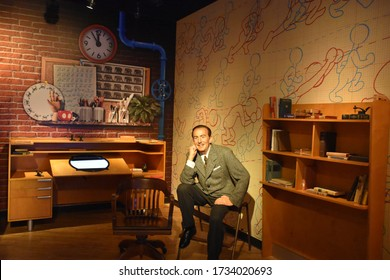 ORLANDO, FL – NOV 24: Walt Disney at Madame Tussauds Wax Museum in Orlando, Florida, on Nov 24, 2019.  It displays waxworks of historical figures, film and TV characters and sports personalities.