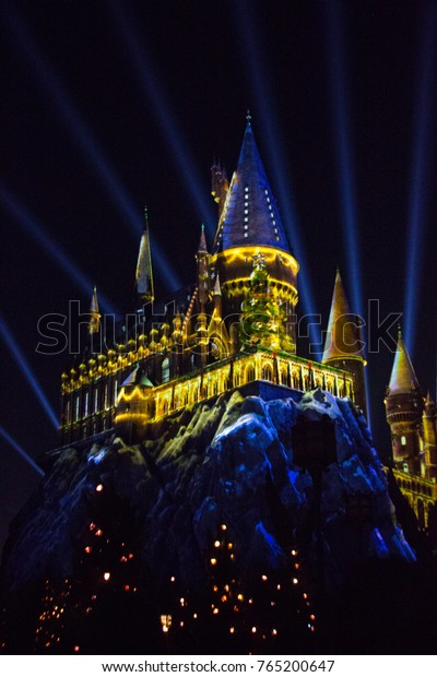 ORLANDO, FL - November 16, 2017: Universal Orlando Resort's Christmas in The Wizarding World of Harry Potter Overlay