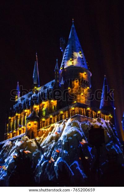 ORLANDO, FL - November 16, 2017: Universal Orlando Resort's Christmas in The Wizarding World of Harry Potter Overlay