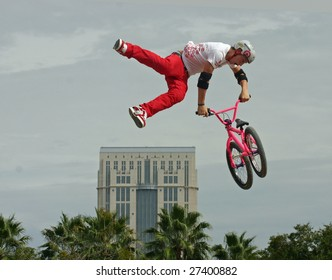 ORLANDO, FL - October 20, 2007 - Anthony Napolitano performs in the BMX Dirt Finals at the PlayStation Pro AST Dew Tour on October, 20, 2007 in Orlando, Florida.