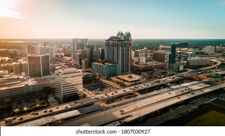 """""""Orlando, FL / USA - 08-31-2020: Drone view of Downtown Orlando and the interstate from the northwest side of town."""""""