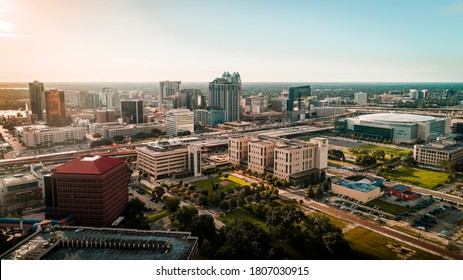 """""""Orlando, FL / USA - 08-31-2020: Wide aerial view of the Orlando downtown and Amway Center. """""""