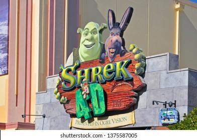 ORLANDO, FL, USA - DEC. 17, 2010: Shrek 4-D film in Universal Studios Florida, Orlando, Florida, USA.