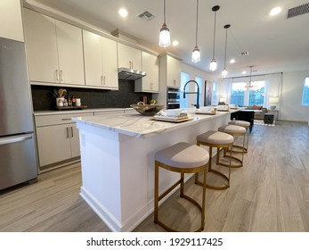 Orlando, FL USA - February 6, 2021:  A beautifully appointed kitchen in a townhome in Orlando, Florida.