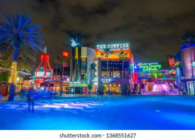 ORLANDO, FL, USA - JAN. 27, 2019: CityWalk at night at Universal Studios Park in Orlando, Florida, USA.