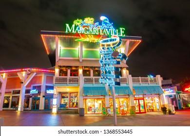 ORLANDO, FL, USA - JAN. 27, 2019: CityWalk Margaritaville at night at Universal Studios Park in Orlando, Florida, USA.