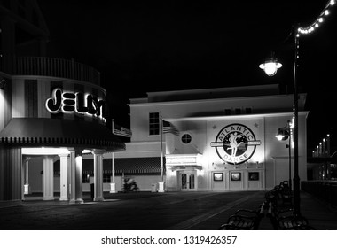 ORLANDO, FL, USA - JANUARY 19, 2009: Atlantic Dance Hall nightclub at Boardwalk Disney  area on Crescent Lake shore at night in Orlando on January 19, 2009.