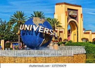 ORLANDO FL, USA - JANUARY 9, 2019: Universal Studios globe located at the entrance to the theme park. Universal Studios Orlando is a theme park resort in Orlando, Florida, USA