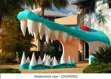 Orlando, FL, USA July 13, 2011 A large alligator head marks the entrance to Gatorland, a tourist attraction in Orlando, Florida