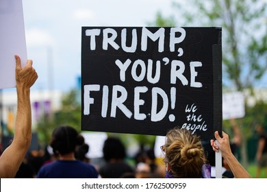 Orlando, FL, USA - JUNE 19, 2020: Trump, you're fired poster. Demonstration in the USA. Voters and politics. US President Donald Trump impeachment. Elections, election campaign.