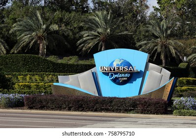 ORLANDO, FL, USA - NOVEMBER 13: An entrance to Universal Orlando Resort in Orlando, Florida on November 13, 2017. Universal Orlando Resort is a popular tourist destination.